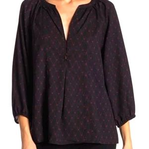 Joie Gloria Abstract Printed Pleated Button Blouse